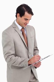 Salesman taking notes