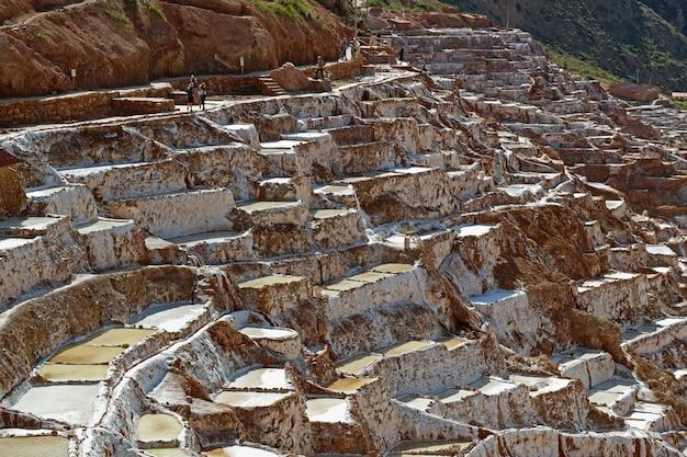 Salineras de maras, salt ponds on the mountain of sacred valley of incas, peru