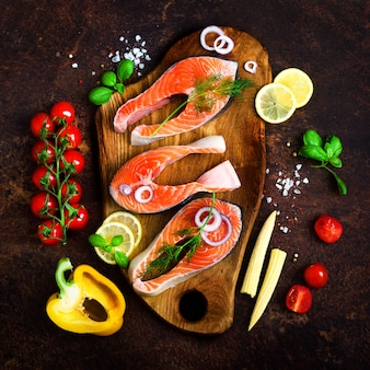 Salmon fillet, fish on wooden. healthy food, diet or cooking concept