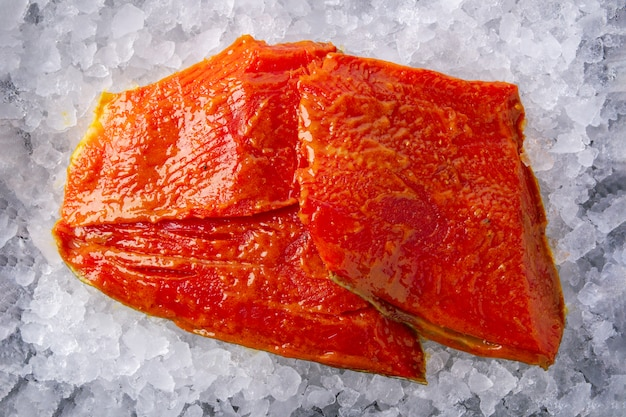 Salmon fillet marinated for grill