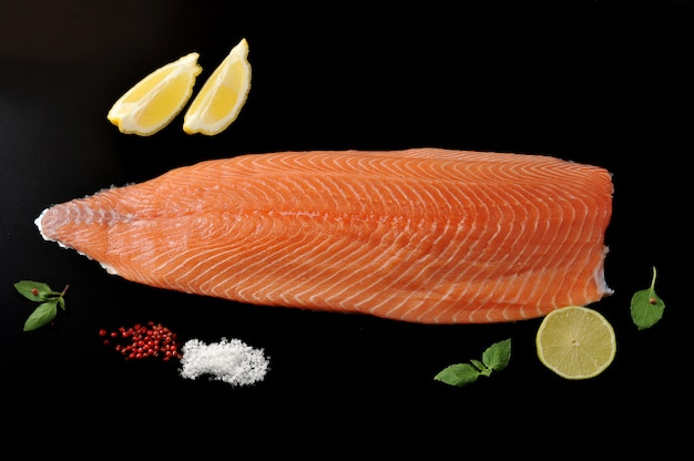 Salmon fillet with lemon lime and spices