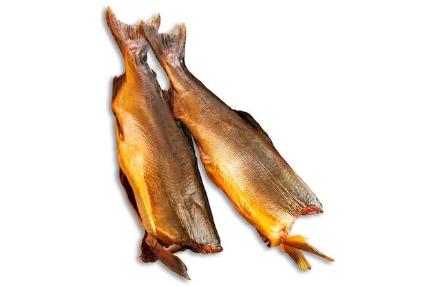 Salmon fish. headless. smoked. isolated. white background.
