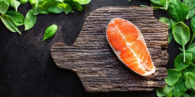 Лосось рыба сырые морепродукты второе блюдо закуска готово к употреблению на столе здоровая еда закуска ингредиент вид сверху