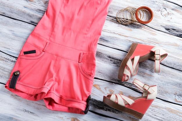 Salmon jumpsuit shorts and shoes wedge sandals and bracelet set womans designer footwear on shelf lo...