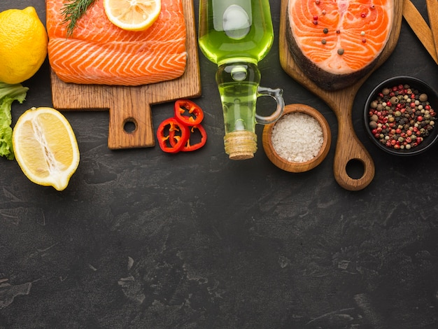 Salmon and lemon arrangement above view