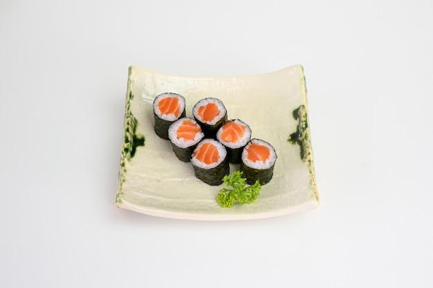 Salmon maki sushi roll seaweed with japanese rice