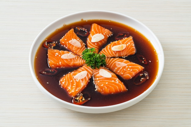 Salmon marinated shoyu or salmon pickled soy sauce in korean style