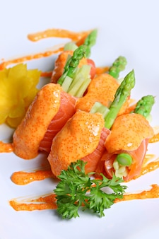 Salmon mentai sauce isolated on white background