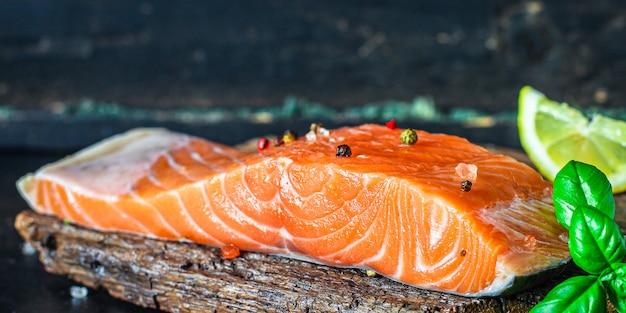 Salmon piece slice red fish seafood pescetarian