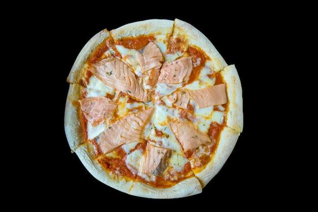 Salmon pizza-italian food style, focus selective