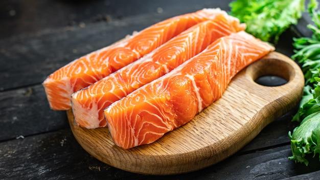 サーモン生魚シーフードダイエット食事スナックコピースペース食品背景ダイエット食品