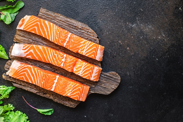 サーモン生シーフード食品オーガニック製品食事スナックコピースペース食品背景ペスカタリアンダイエット