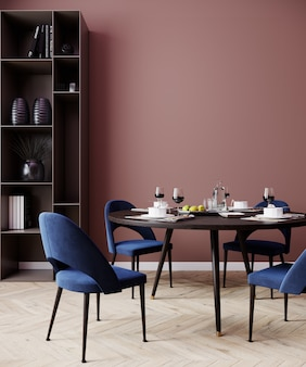 Salmon red interior dining room with blue chairs, poster mock up, 3d rendering