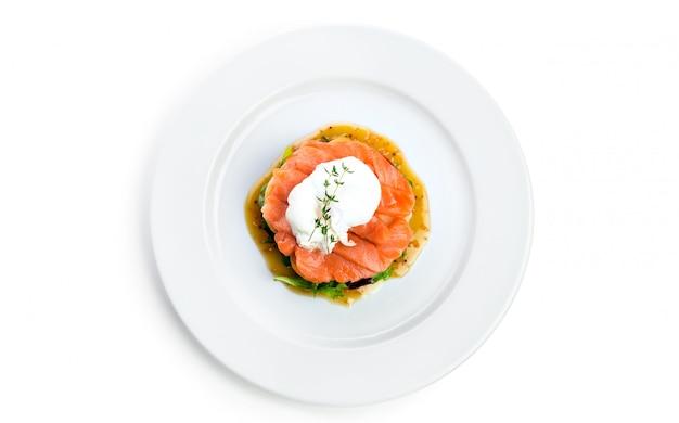 Salmon salad isolated on white