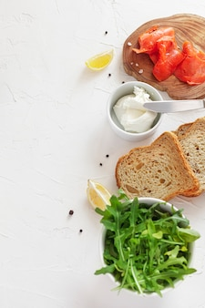 Salmon sandwich ingredients on white background. top view