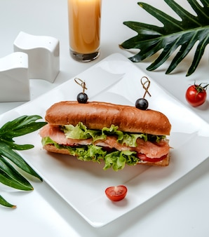 Salmon sandwich with vegetables on the table