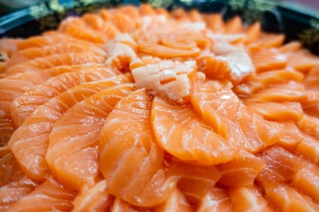 Salmon sashimi cake