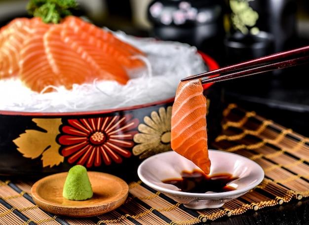 Salmon sashimi chopsticks