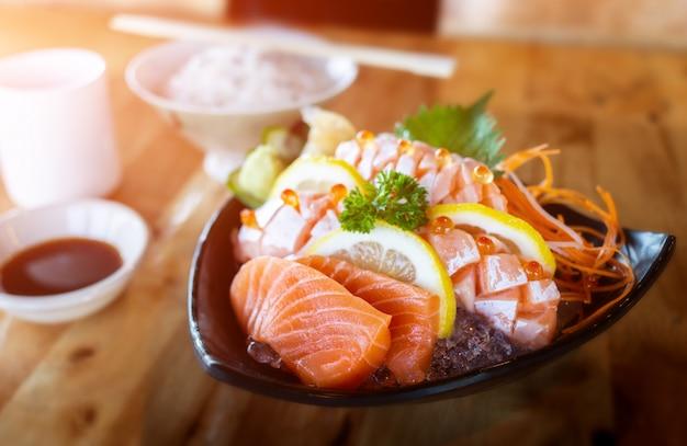 Salmon sashimi cutting set.
