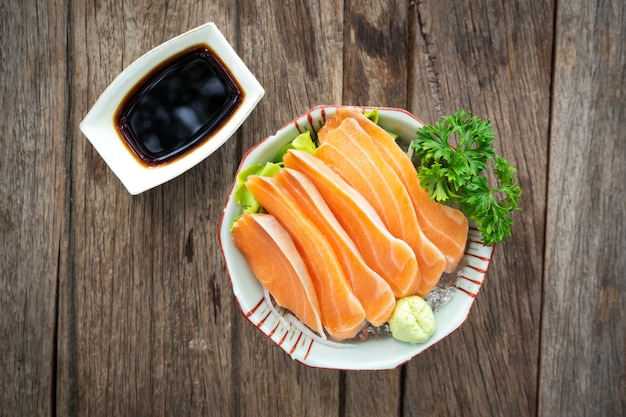 Salmon sashimi. freshness fish. favorite menu of japanese food.