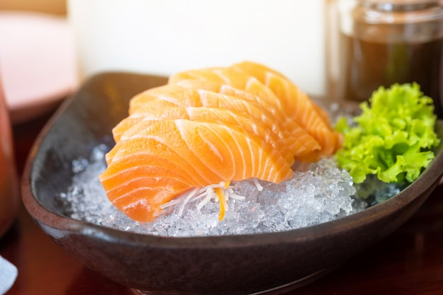 Salmon sashimi in japanese restaurant