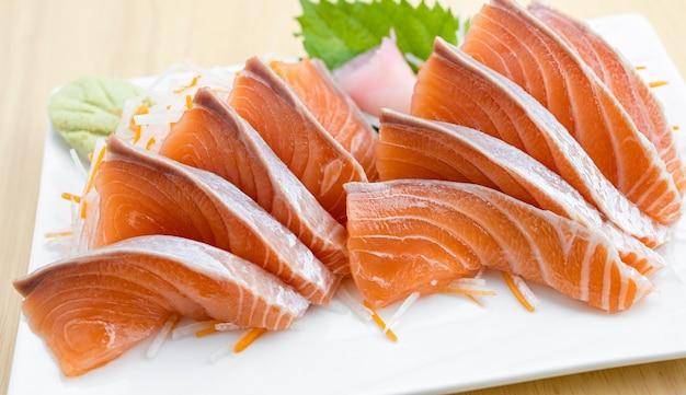 Salmon sashimi on white background  japan food concept