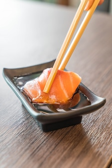 Salmon sashimi with soy sauce