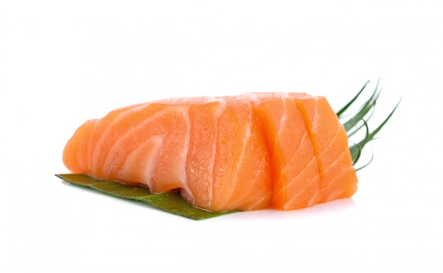 Salmon sliced on white