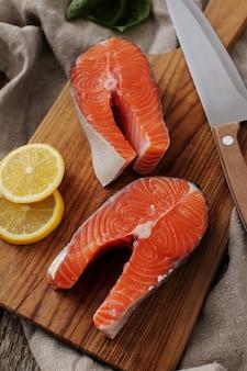 Salmon slices, healthy food
