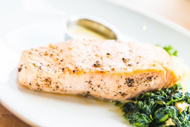 Salmon steak fillet