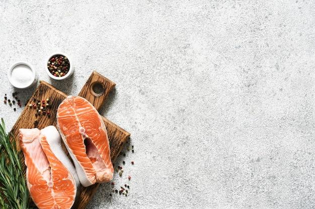 연어 스테이크 생선 요리 준비 향신료.