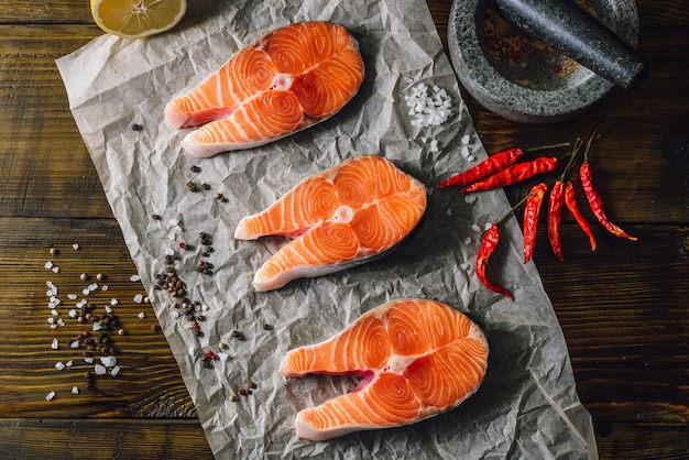 Salmon steaks and spices