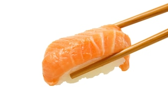 Salmon sushi nigiri isolate on white.