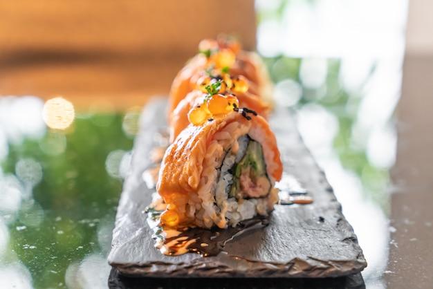 Salmon sushi rolls with foie gras