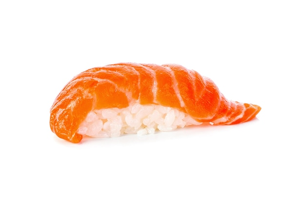 Salmon sushi on white background