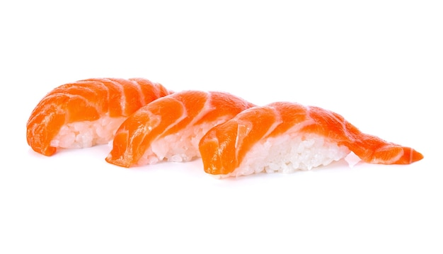 Salmon sushi on a white background