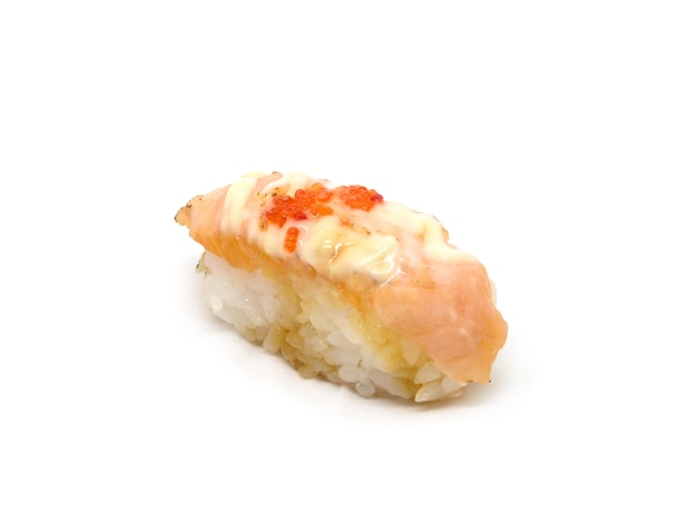 Суп-лосось с соусом майоннс на белом фоне, японская кухня