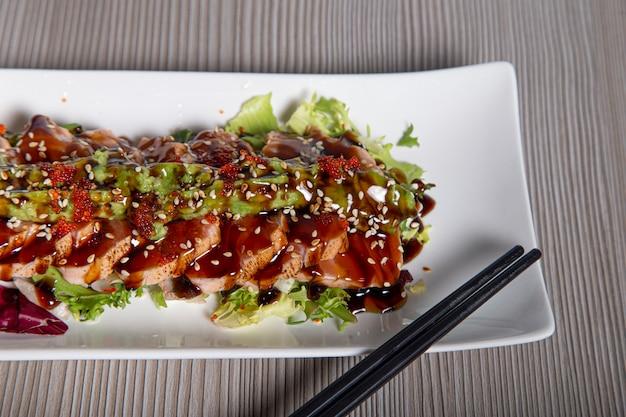 Salmon tataki japanese food salmon fillet.