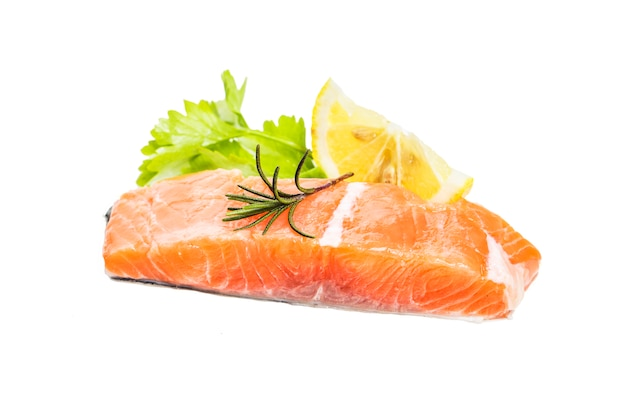 Salmon on white background