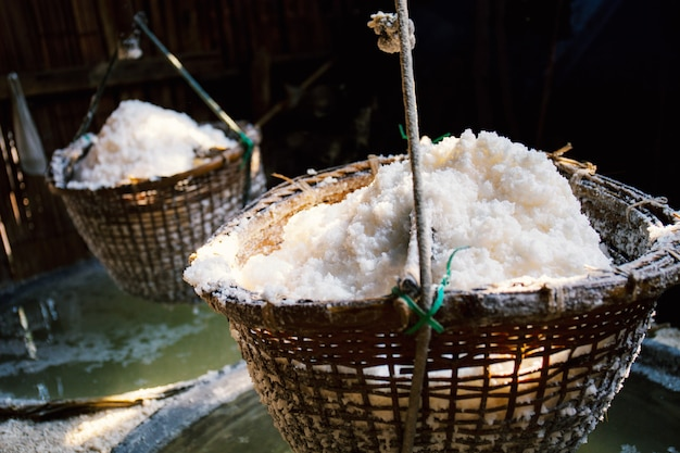 Salt on a bamboo basket.