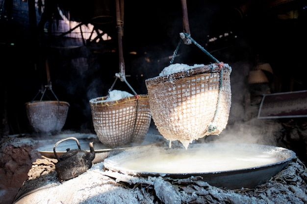 Salt in basket on stove.