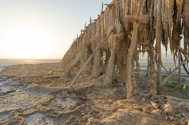 Соляные конкременты на экстракционном насосе в соляных равнинах озера асале в данакильской впадине в эфиопии, африка