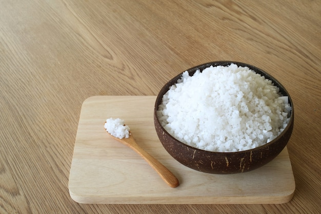 Salt crystal in coconut shell for spa.