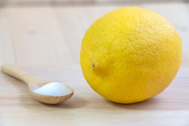 Salt and lemon put on chopping block