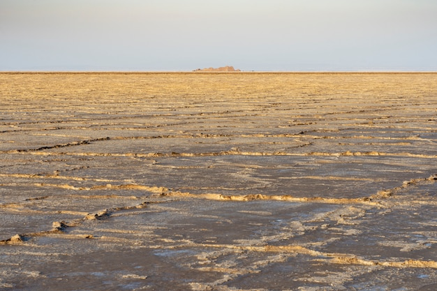 The salt plains of asale lake in the danakil depression in ethiopia, africa.
