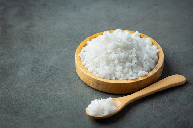 Salt in wooden small plate