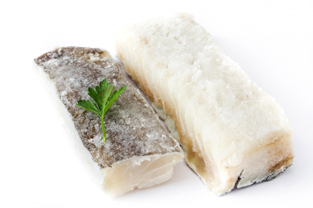 Salted dried cod isolated typical easter food