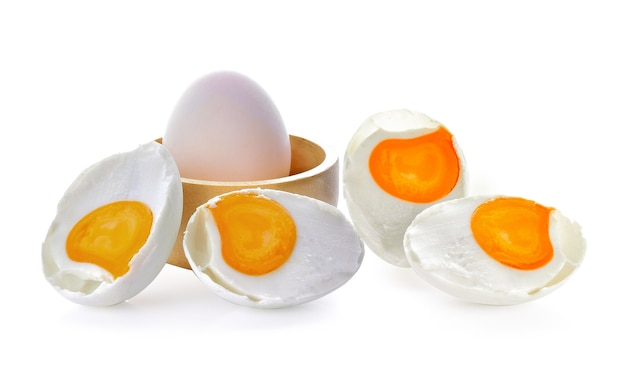 Salted eggs on a white space