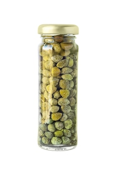 Salted or pickled canned capers in glass jar.