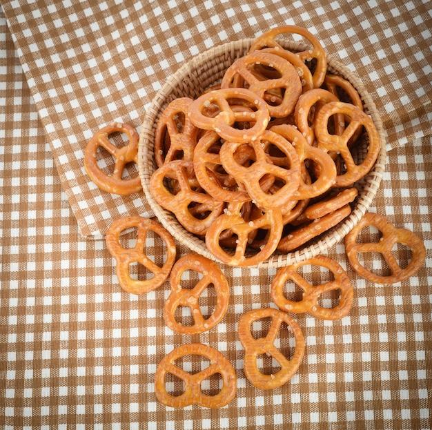 Salted pretzel snacks in basket